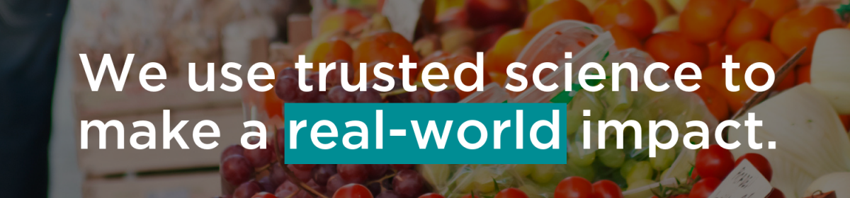 Header image for the Nutrition Advisory Council that reads We use trusted science to make a real-world impact