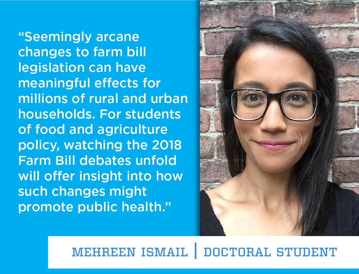 student mehreen ismail, pictured outdoors smiling. Her quote reads as follows. Seemingly arcane changes to farm bill legislation can have meaningful effects for millions of rural and urban households. For students of food and agriculture policy, watching the 2018 Farm Bill debates unfold will offer insight into how such changes might promote public health. end quote.