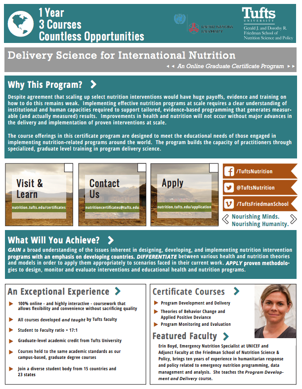 Download the PDF Information Sheet for the Delivery Science for International Nutrition Program